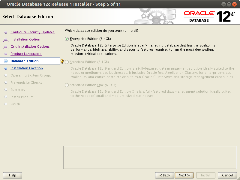 Oracle 12 relese 1 installation on Linux
